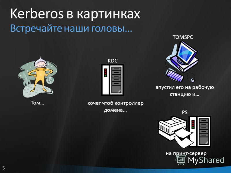 5 Kerberos в картинках Встречайте наши головы… Том… KDC хочет чтоб контроллер домена… TOMSPC впустил его на рабочую станцию и… PS на принт-сервер