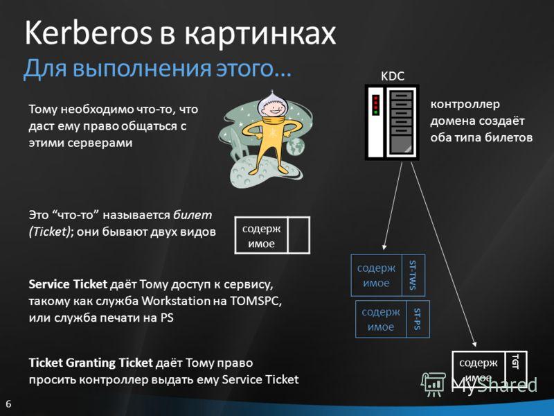 6 Kerberos в картинках Для выполнения этого… Тому необходимо что-то, что даст ему право общаться с этими серверами содерж имое Это что-то называется билет (Ticket); они бывают двух видов KDC контроллер домена создаёт оба типа билетов содерж имое ST-P