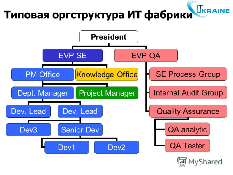 Типовая оргструктура ИТ фабрики President EVP SE PM Office Dept. Manager Dev. Lead Dev3Senior Dev Dev1 Dev2 Project Manager Knowledge Office EVP QA SE Process Group Internal Audit Group Quality Assurance QA analytic QA Tester