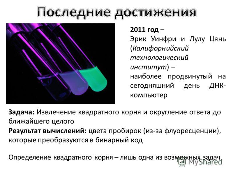 2011 год – Эрик Уинфри и Лулу Цянь (Калифорнийский технологический институт) – наиболее продвинутый на сегодняшний день ДНК- компьютер Задача: Извлечение квадратного корня и округление ответа до ближайшего целого Результат вычислений: цвета пробирок