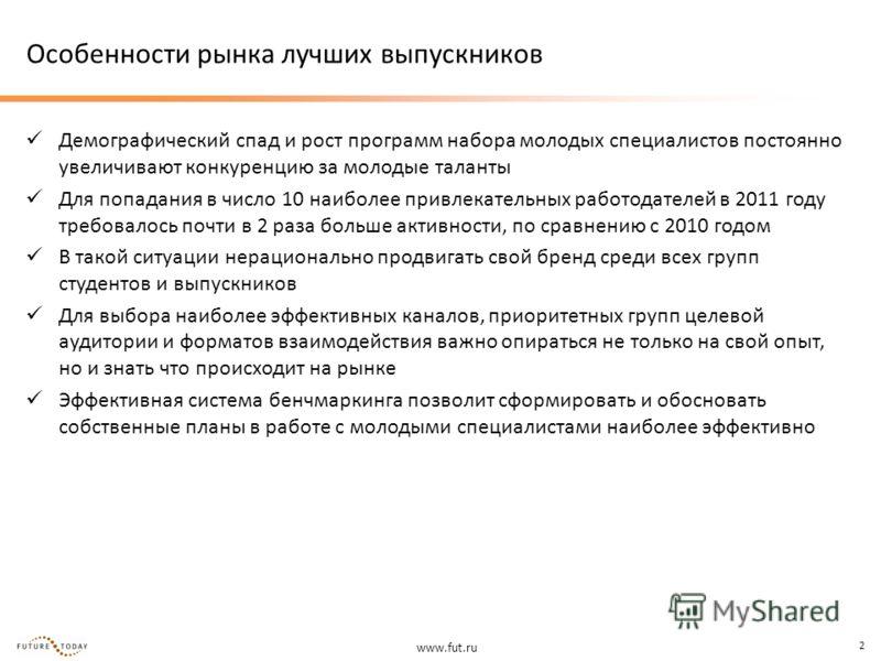 www.fut.ru 2 Особенности рынка лучших выпускников Демографический спад и рост программ набора молодых специалистов постоянно увеличивают конкуренцию за молодые таланты Для попадания в число 10 наиболее привлекательных работодателей в 2011 году требов