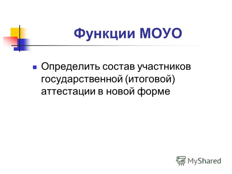 Функции МОУО Определить состав участников государственной (итоговой) аттестации в новой форме