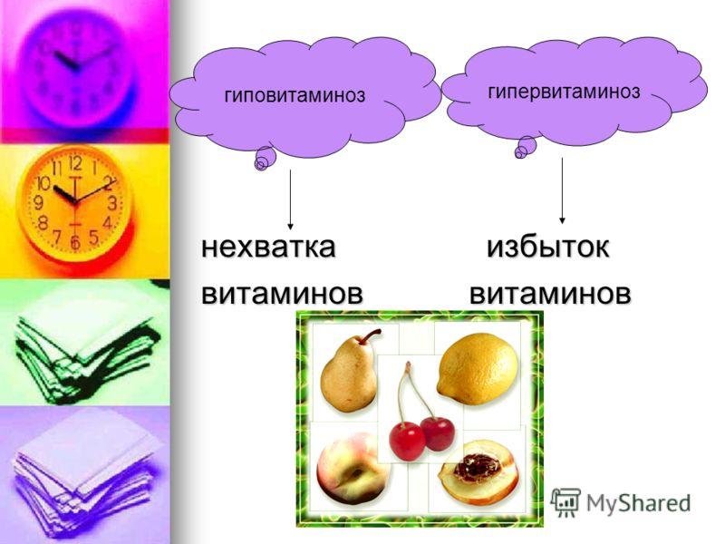 нехватка избыток витаминов витаминов гиповитаминоз гипервитаминоз