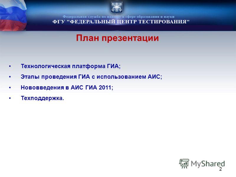 Технологическая платформа ГИА; Этапы проведения ГИА с использованием АИС; Нововведения в АИС ГИА 2011; Техподдержка. План презентации 2