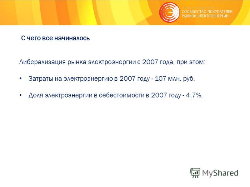 С чего все начиналось Либерализация рынка электроэнергии с 2007 года, при этом: Затраты на электроэнергию в 2007 году - 107 млн. руб. Доля электроэнергии в себестоимости в 2007 году - 4,7%.