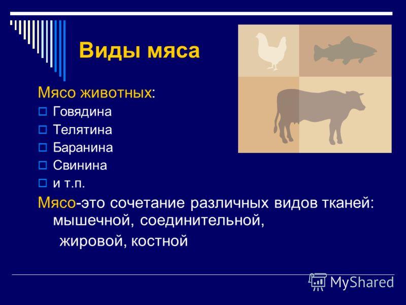 Виды мяса Мясо животных: Говядина Телятина Баранина Свинина и т.п. Мясо-это сочетание различных видов тканей: мышечной, соединительной, жировой, костной