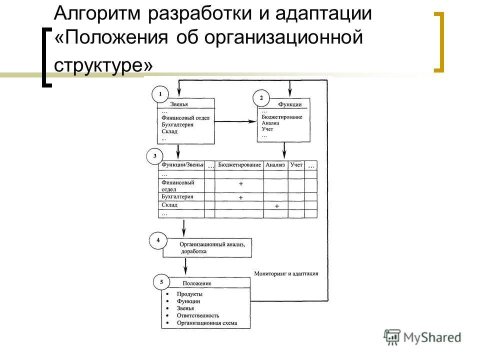 Алгоритм разработки и адаптации «Положения об организационной структуре»