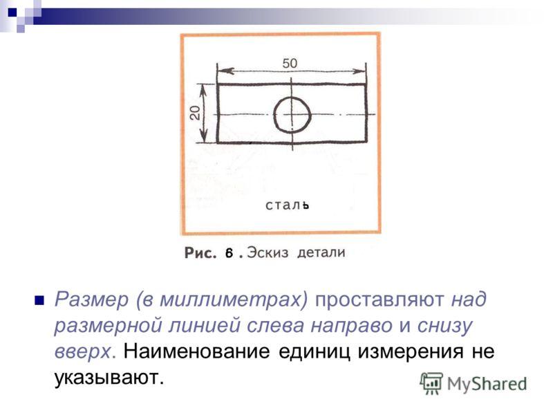 Размер (в миллиметрах) проставляют над размерной линией слева направо и снизу вверх. Наименование единиц измерения не указывают.