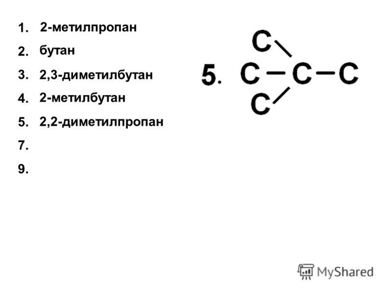 бутан 2,3-диметилбутан 2-метилбутан 1. 2. 3. 4. 5. 7. 9. 2-метилпропан 2,2-диметилпропан