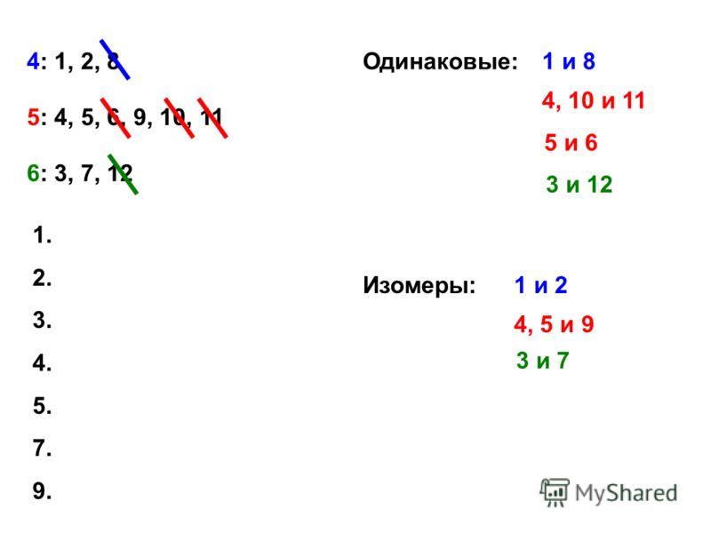 4: 1, 2, 8 5: 4, 5, 6, 9, 10, 11 6: 3, 7, 12 Одинаковые:1 и 8 4, 10 и 11 5 и 6 3 и 12 Изомеры:1 и 2 4, 5 и 9 3 и 7 1. 2. 3. 4. 5. 7. 9.