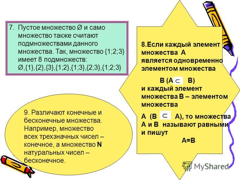 7.Пустое множество Ø и само множество также считают подмножествами данного множества. Так, множество {1;2;3} имеет 8 подмножеств: Ø,{1},{2},{3},{1;2},{1;3},{2;3},{1;2;3} 8.Если каждый элемент множества А является одновременно элементом множества В (A