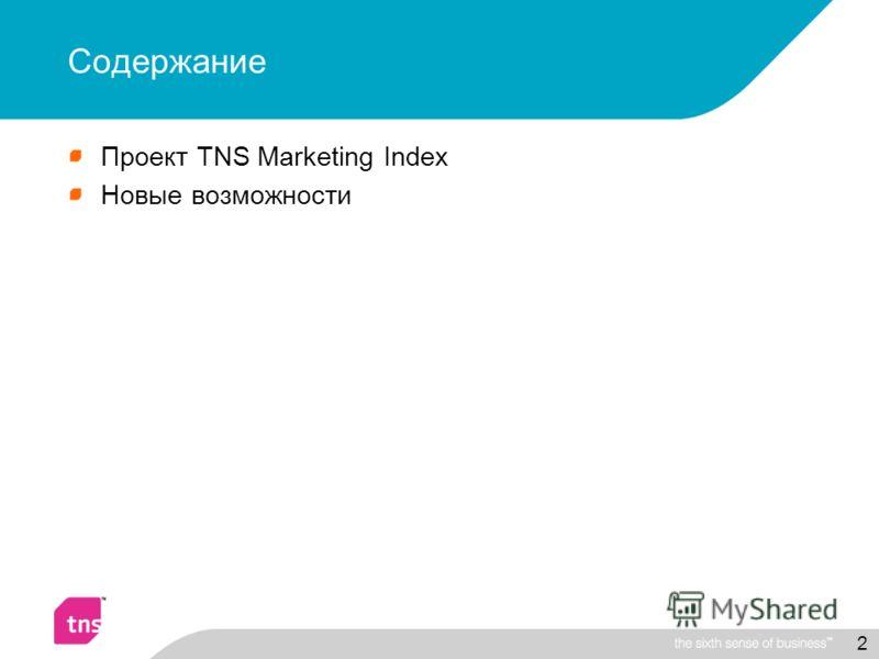 2 Содержание Проект TNS Marketing Index Новые возможности