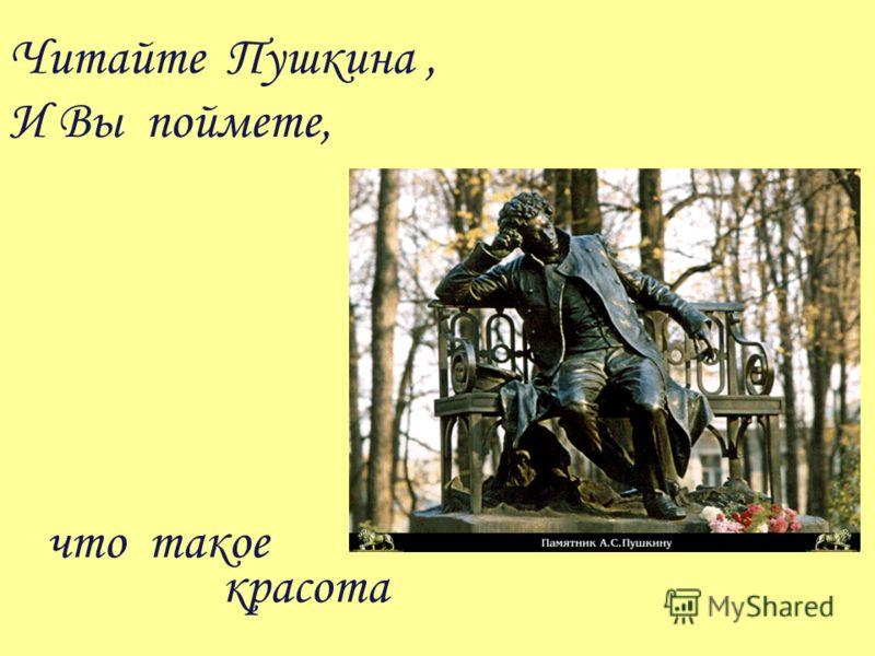 Читайте Пушкина, И Вы поймете, что такое красота