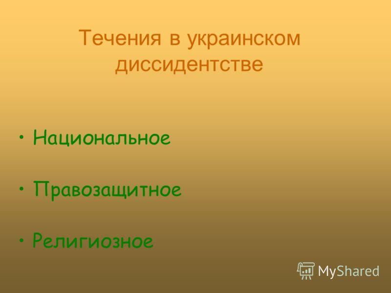 Течения в украинском диссидентстве Национальное Правозащитное Религиозное