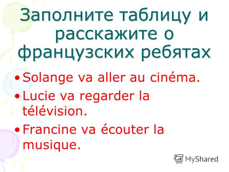 Заполните таблицу и расскажите о французских ребятах Solange va aller au cinéma. Lucie va regarder la télévision. Francine va écouter la musique.