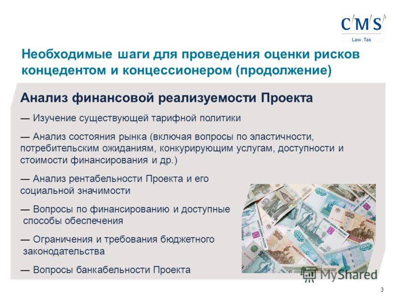 3 Анализ финансовой реализуемости Проекта Изучение существующей тарифной политики Анализ состояния рынка (включая вопросы по эластичности, потребительским ожиданиям, конкурирующим услугам, доступности и стоимости финансирования и др.) Анализ рентабел