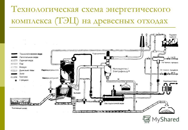 Технологическая схема энергетического комплекса (ТЭЦ) на древесных отходах