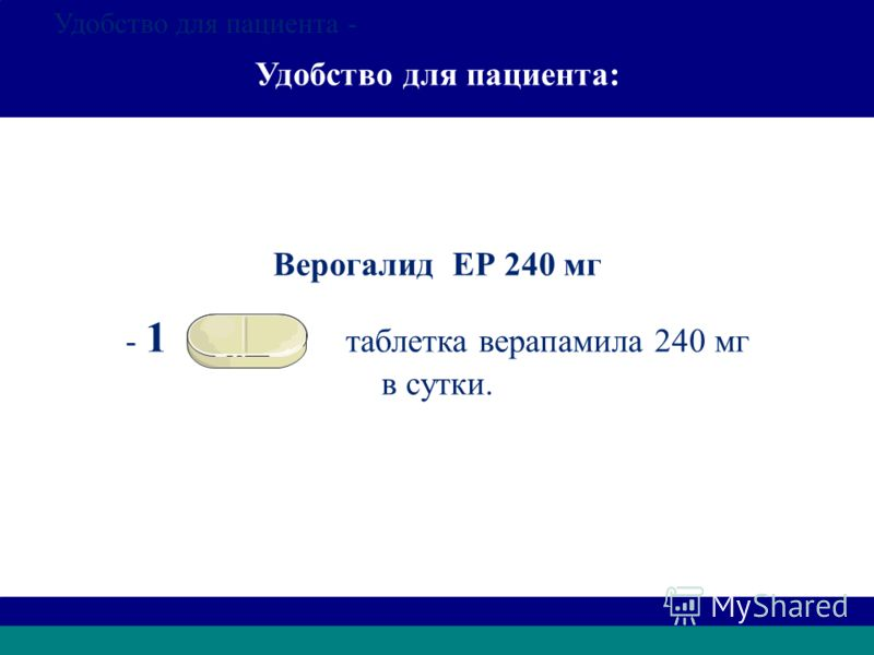 Удобство для пациента: Верогалид ЕР 240 мг - 1 таблетка верапамила 240 мг в сутки. Удобство для пациента - Удобство для пациента: