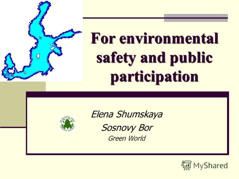 For environmental safety and public participation Elena Shumskaya Sosnovy Bor Green World