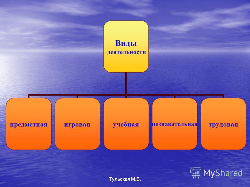 Виды деятельности предметнаяигроваяучебнаяпознавательнаятрудовая Тульская М.В.