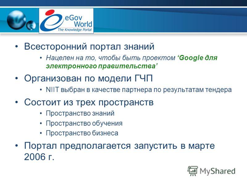 Всесторонний портал знаний Нацелен на то, чтобы быть проектом Google для электронного правительства Организован по модели ГЧП NIIT выбран в качестве партнера по результатам тендера Состоит из трех пространств Пространство знаний Пространство обучения