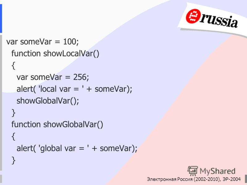 Электронная Россия (2002-2010), ЭР-2004 var someVar = 100; function showLocalVar() { var someVar = 256; alert( 'local var = ' + someVar); showGlobalVar(); } function showGlobalVar() { alert( 'global var = ' + someVar); }