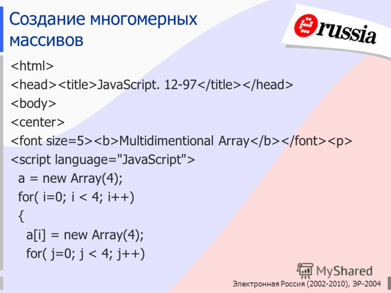Электронная Россия (2002-2010), ЭР-2004 Создание многомерных массивов JavaScript. 12-97 Multidimentional Array a = new Array(4); for( i=0; i < 4; i++) { a[i] = new Array(4); for( j=0; j < 4; j++)