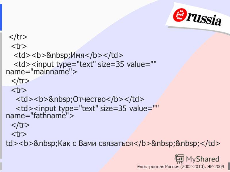 Электронная Россия (2002-2010), ЭР-2004 Имя Отчество td> Kaк с Вами связаться