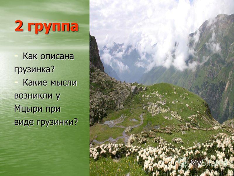 2 группа - Как описана грузинка? - Какие мысли возникли у Мцыри при виде грузинки?