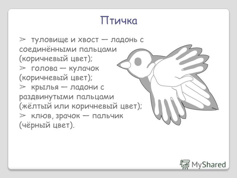 Птичка туловище и хвост ладонь с соединёнными пальцами (коричневый цвет); голова кулачок (коричневый цвет); крылья ладони с раздвинутыми пальцами (жёлтый или коричневый цвет); клюв, зрачок пальчик (чёрный цвет).