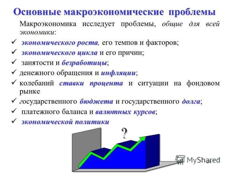 19 Неоклассическая модель Кейнсианская модель Монетаристская модель Рациональные ожидания Реальный деловой цикл Разнообразие макроэкономических концепций «Даже если экономистам поручат довести до конца хотя бы одно дело, они никогда не придут к согла