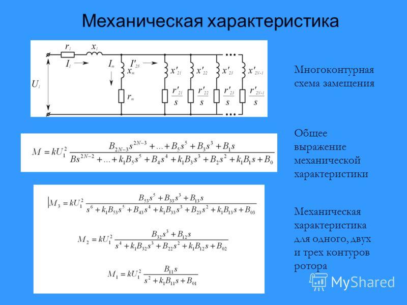 Механическая характеристика Многоконтурная схема замещения Общее выражение механической характеристики Механическая характеристика для одного, двух и трех контуров ротора