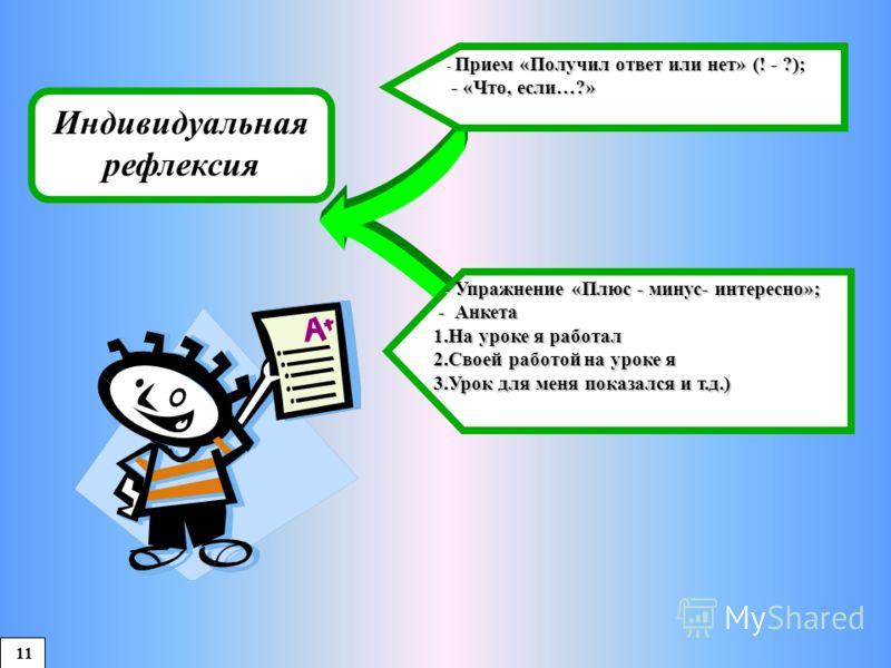 Индивидуальная рефлексия - Упражнение «Плюс - минус- интересно»; - Упражнение «Плюс - минус- интересно»; - Анкета - Анкета 1.На уроке я работал 2.Своей работой на уроке я 3.Урок для меня показался и т.д.) - Прием «Получил ответ или нет» (! - ?); - Пр