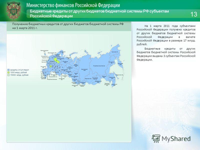 Бюджетные кредиты от других бюджетов бюджетной системы РФ субъектам Российской Федерации На 1 марта 2011 года субъектами Российской Федерации получено кредитов от других бюджетов бюджетной системы Российской Федерации в валюте Российской Федерации в