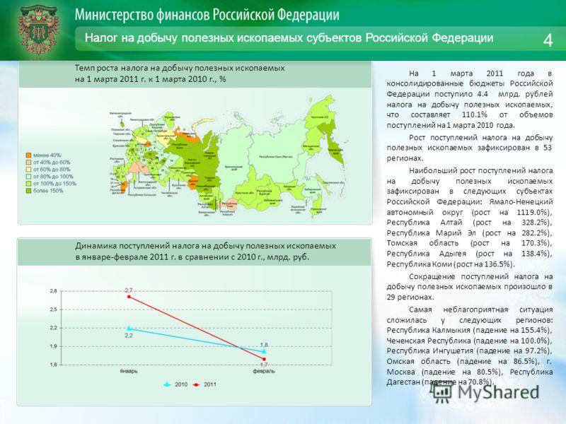 Налог на добычу полезных ископаемых субъектов Российской Федерации На 1 марта 2011 года в консолидированные бюджеты Российской Федерации поступило 4.4 млрд. рублей налога на добычу полезных ископаемых, что составляет 110.1% от объемов поступлений на