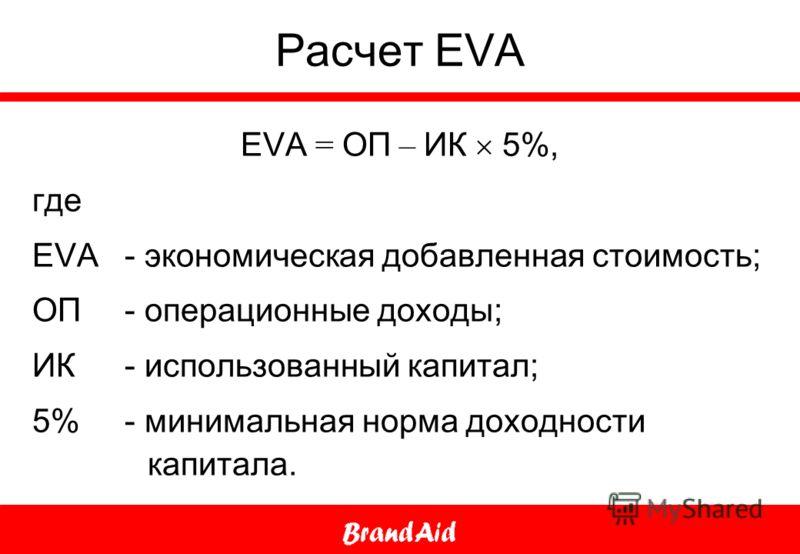 Расчет EVA EVA = ОП – ИК 5%, где EVA - экономическая добавленная стоимость; ОП - операционные доходы; ИК - использованный капитал; 5% - минимальная норма доходности капитала.