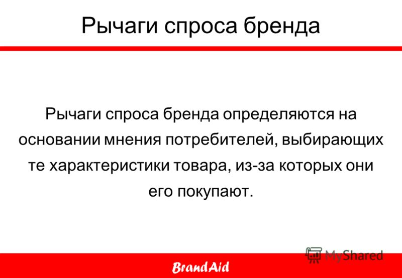 Рычаги спроса бренда Рычаги спроса бренда определяются на основании мнения потребителей, выбирающих те характеристики товара, из-за которых они его покупают.