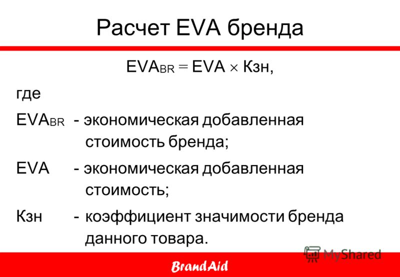 Расчет EVA бренда EVA BR = EVA Кзн, где EVA BR - экономическая добавленная стоимость бренда; EVA - экономическая добавленная стоимость; Кзн - коэффициент значимости бренда данного товара.