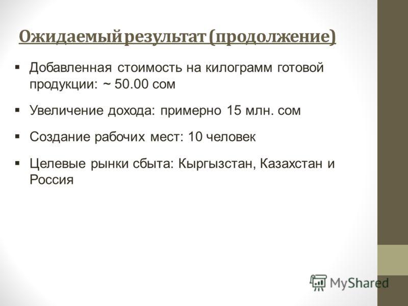 Ожидаемый результат (продолжение) Добавленная стоимость на килограмм готовой продукции: ~ 50.00 сом Увеличение дохода: примерно 15 млн. сом Создание рабочих мест: 10 человек Целевые рынки сбыта: Кыргызстан, Казахстан и Россия