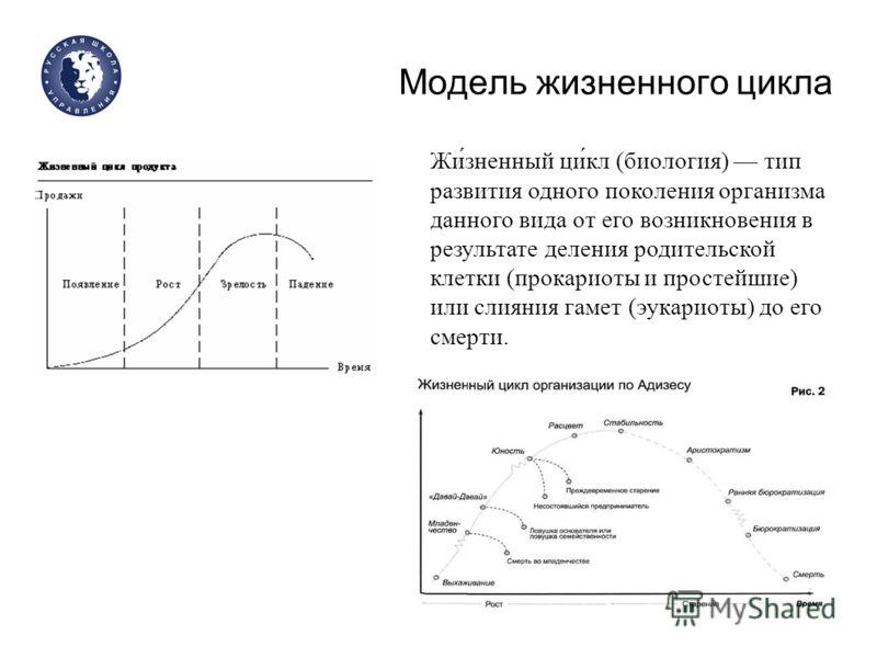 Модель жизненного цикла Жи́зненный ци́кл (биология) тип развития одного поколения организма данного вида от его возникновения в результате деления родительской клетки (прокариоты и простейшие) или слияния гамет (эукариоты) до его смерти.