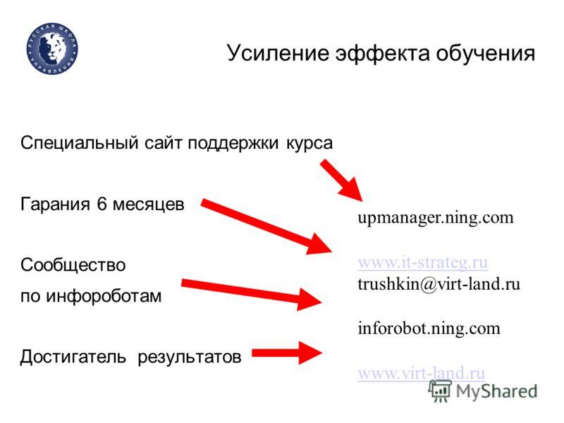 Усиление эффекта обучения Специальный сайт поддержки курса Гарания 6 месяцев Сообщество по инфороботам Достигатель результатов upmanager.ning.com www.it-strateg.ru trushkin@virt-land.ru inforobot.ning.com www.virt-land.ru