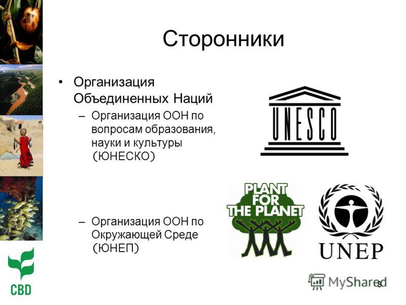 8 Сторонники Организация Объединенных Наций –Организация ООН по вопросам образования, науки и культуры ( ЮНЕСКО ) –Организация ООН по Окружающей Среде ( ЮНЕП )
