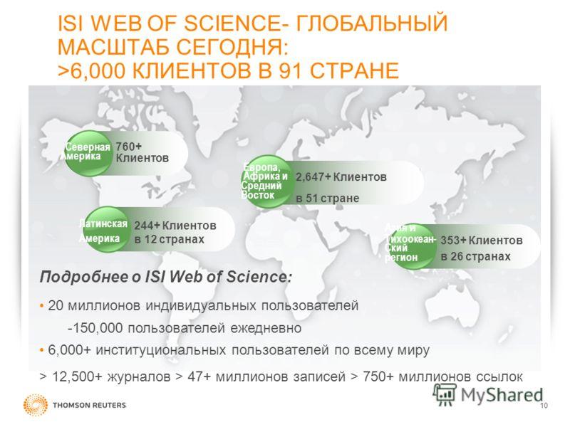 10 ISI WEB OF SCIENCE- ГЛОБАЛЬНЫЙ МАСШТАБ СЕГОДНЯ: >6,000 КЛИЕНТОВ В 91 СТРАНЕ Азия и Тихоокеан- Ский регион 353+ Клиентoв в 26 странах Европa, Африка и Средний Восток 2,647+ Клиентoв в 51 стране 244+ Клиентoв в 12 странах Латинская Америка 760+ Клие