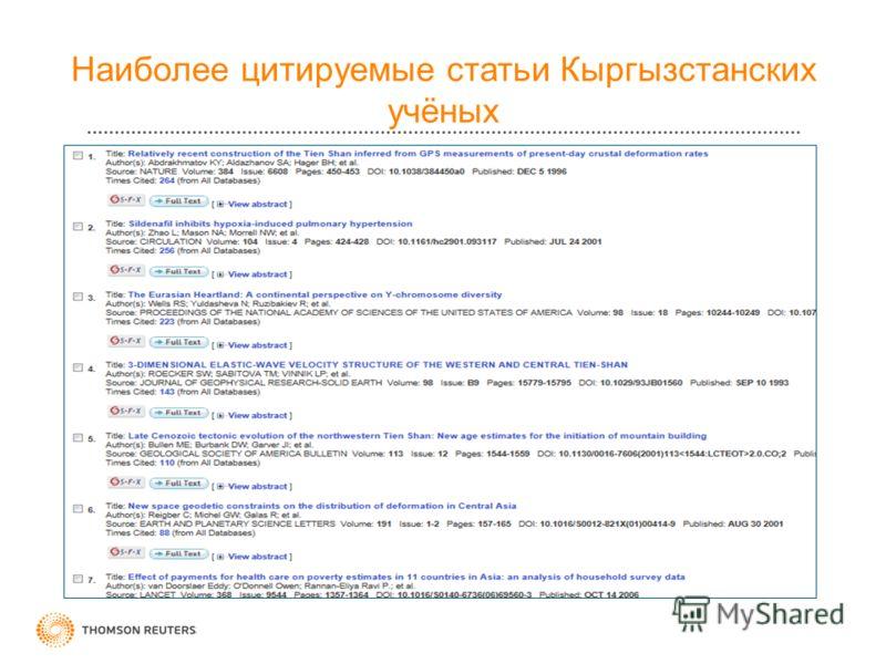 Наиболее цитируемые статьи Кыргызстанcких учёных
