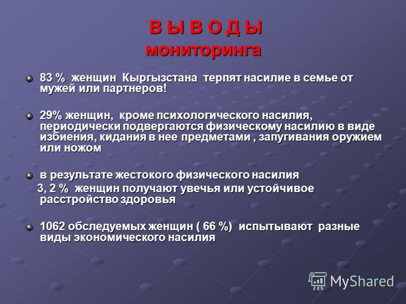 В Ы В О Д Ы мониторинга В Ы В О Д Ы мониторинга 83 % женщин Кыргызстана терпят насилие в семье от мужей или партнеров! 29% женщин, кроме психологического насилия, периодически подвергаются физическому насилию в виде избиения, кидания в нее предметами
