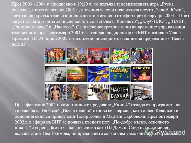 През 2003 - 2004 г. ежедневно в 19:20 ч. се излъчва телевизионната игра Руска рулетка, а през есента на 2003 г., в късния часови пояс излиза шоуто ЗалоАЛОжи, което също кратък телевизионен живот и е свалено от ефир през февруари 2004 г. През август с