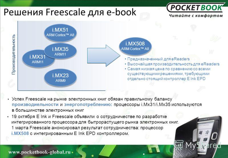 Решения Freescale для e-book Успех Freescale на рынке электронных книг обязан правильному балансу производиельности и энергопотреблению: процессоры i.Mx31/i.Mx35 используются в большинстве электронных книг Производительность Предназначенный для eRead