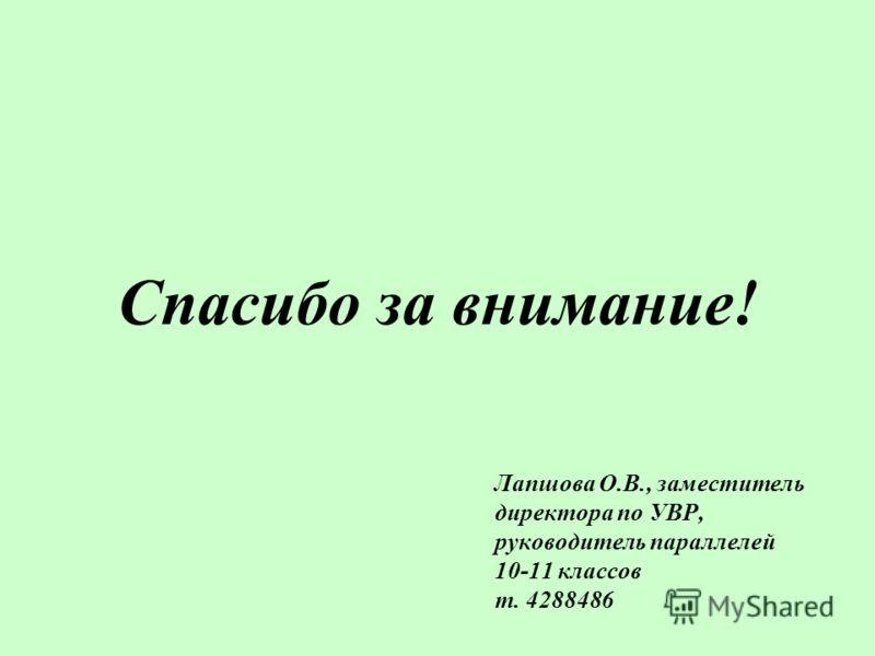 Лапшова О.В., заместитель директора по УВР, руководитель параллелей 10-11 классов т. 4288486 Спасибо за внимание!