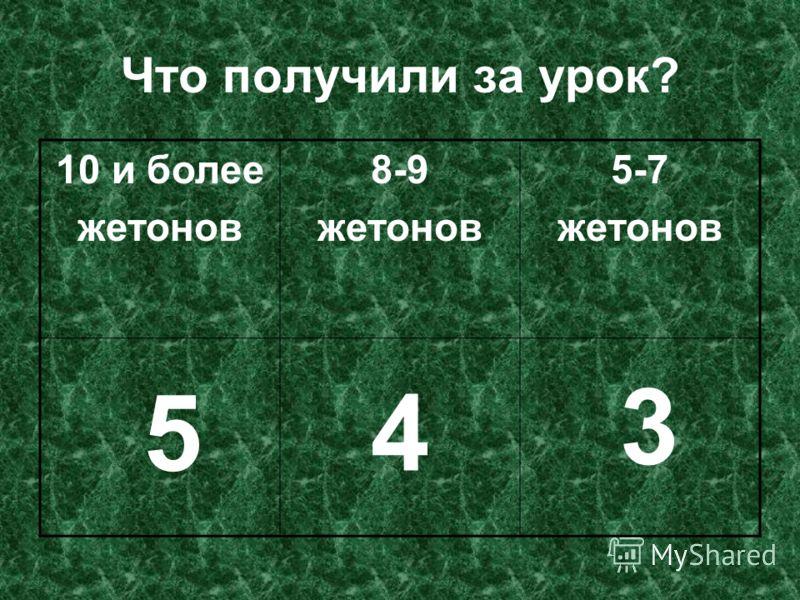 Что получили за урок? 10 и более жетонов 8-9 жетонов 5-7 жетонов 54 3