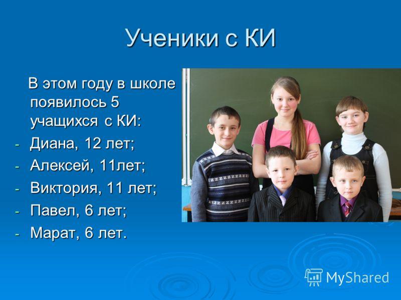 Ученики с КИ В этом году в школе появилось 5 учащихся с КИ: В этом году в школе появилось 5 учащихся с КИ: - Диана, 12 лет; - Алексей, 11лет; - Виктория, 11 лет; - Павел, 6 лет; - Марат, 6 лет.